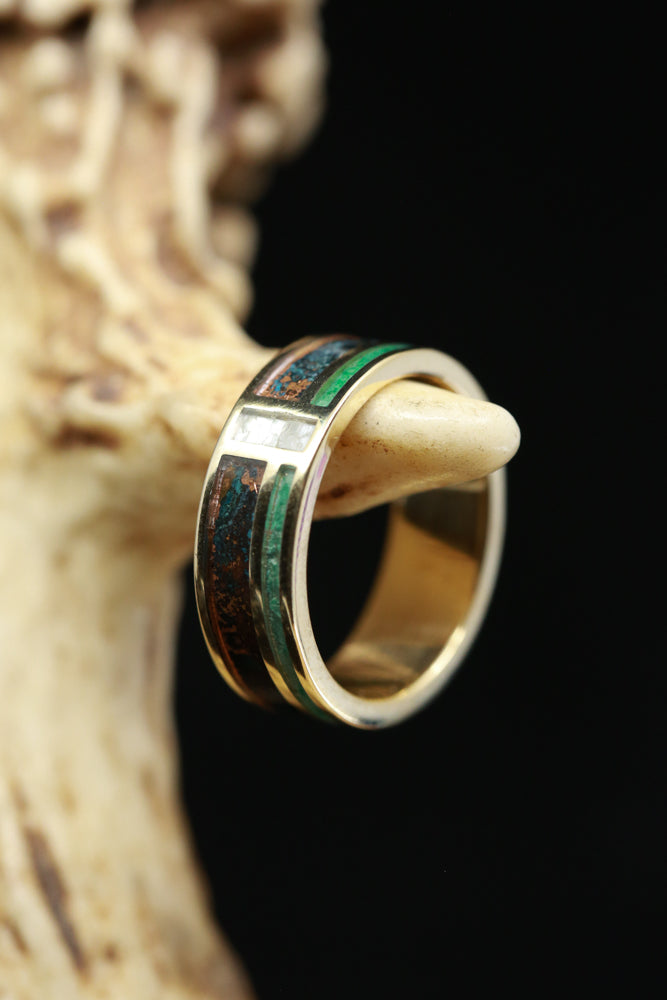 CUSTOM SET PATINA COPPER, MALACHITE & MOTHER OF PEARL WEDDING BAND (fully customizable)