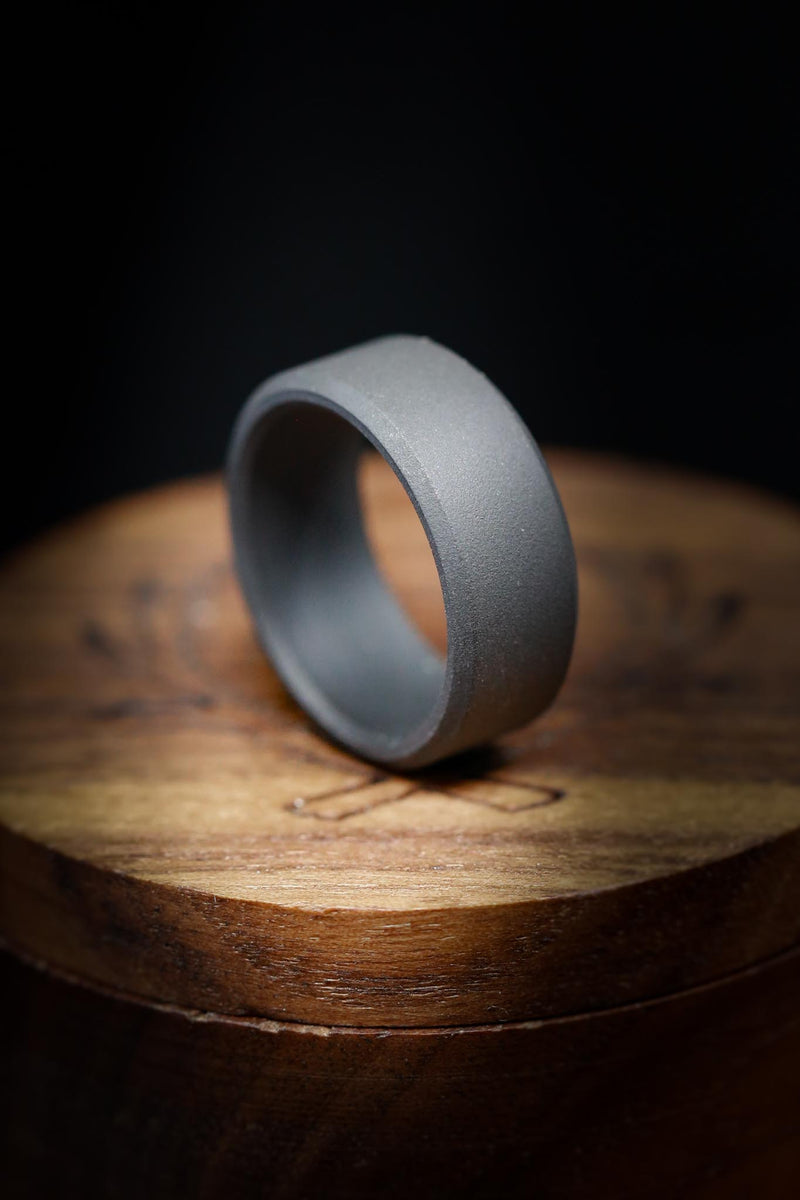 SANDBLASTED TITANIUM  WEDDING BAND (available in titanium, silver, black zirconium, damascus steel & 14K white, rose, or yellow gold)