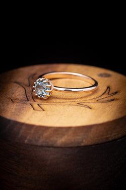 Montana Sapphire Engagement Ring - Hidden Diamond Halo Ring - Staghead Designs