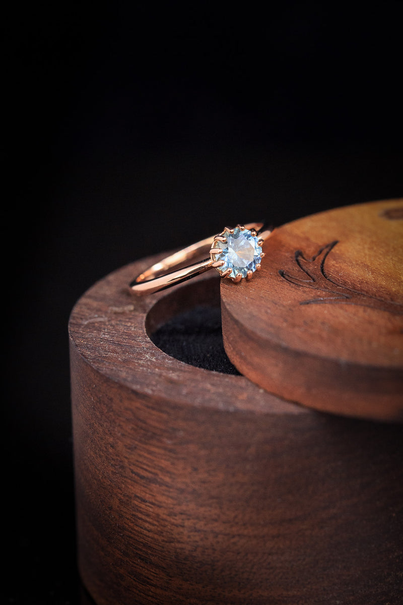 ROUND MONTANA SAPPHIRE SOLITAIRE WITH REGAL CROWN SETTING & HIDDEN DIAMOND HALO