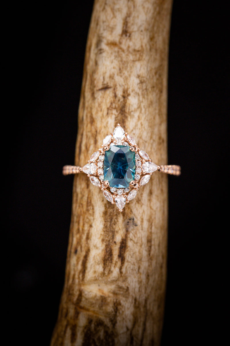 """NORTH STAR"" - MONTANA SAPPHIRE ENGAGEMENT RING WITH DIAMOND HALO & ACCENTS"