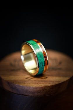 Malachite Wedding Ring in Yellow Gold with Ironwood - Staghead Designs