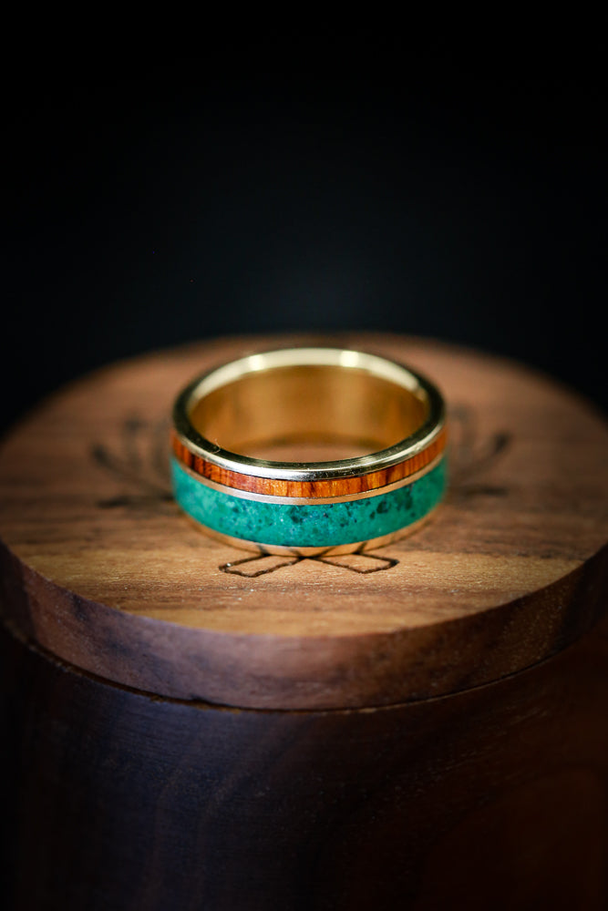 MALACHITE & IRONWOOD WEDDING BAND ON 14K GOLD (available in 14K white, rose, or yellow gold)