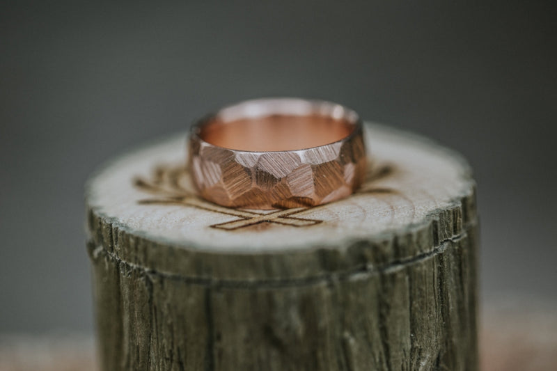 14K FACETED GOLD BAND IN RAW FINISH (available in 14K rose, white or yellow gold) -  Custom Rings Handcrafted By Staghead Designs