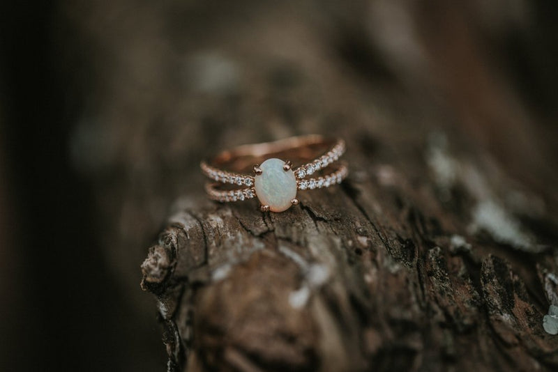 OPAL STONE SET ON 14K GOLD DIAMOND BAND (available in 14K rose, white and yellow gold) - Staghead Designs - Antler Rings By Staghead Designs