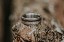"""VERTIGO"" IN HAMMERED TITANIUM AND OFFSET IRONWOOD - MEN'S WEDDING BAND (available in titanium, silver, black zirconium, damascus steel & 14K white, rose or yellow gold) - Staghead Designs - Antler Rings By Staghead Designs"