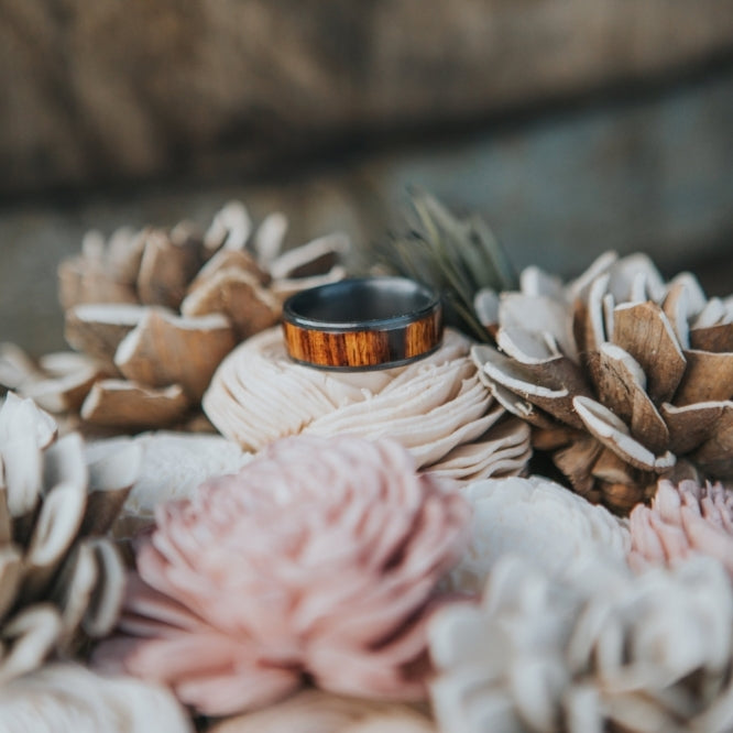 """RAINIER"" IN BLACK ZIRCONIUM AND IRONWOOD (available in black zirconium, silver, damascus steel & 14K white, yellow, or rose gold) - Staghead Designs - Antler Rings By Staghead Designs"