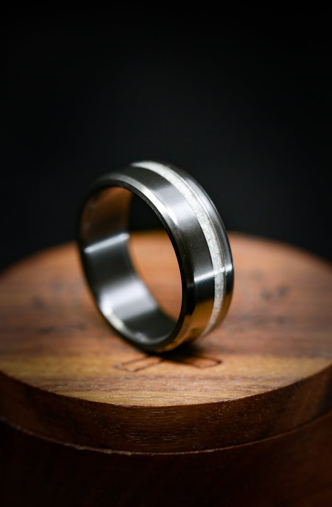 CRUSHED IVORY WEDDING RING WITH BLACK ZIRCONIUM BAND (fully customizable)