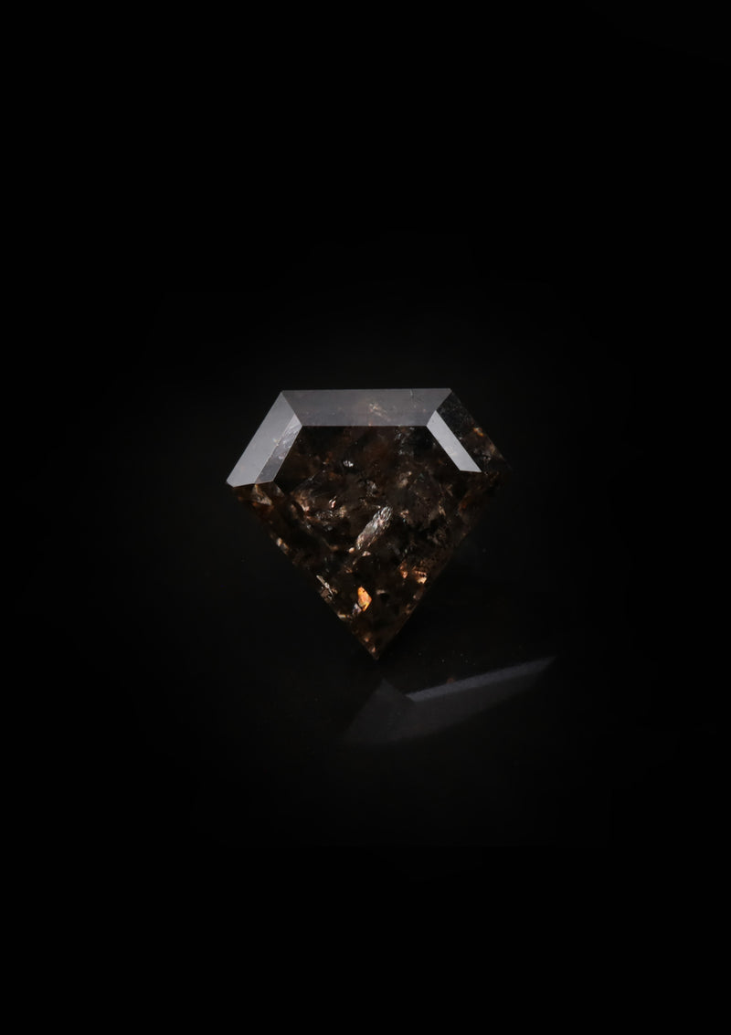 "NEW ""Thora"" 2.5ct Shield Cut Brown Sugar Salt and Pepper Diamond"