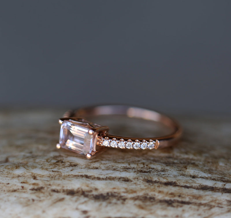 """AMARA"" - MORGANITE & DIAMOND ENGAGEMENT RING (available only in 14K rose gold) - Staghead Designs - Antler Rings By Staghead Designs"