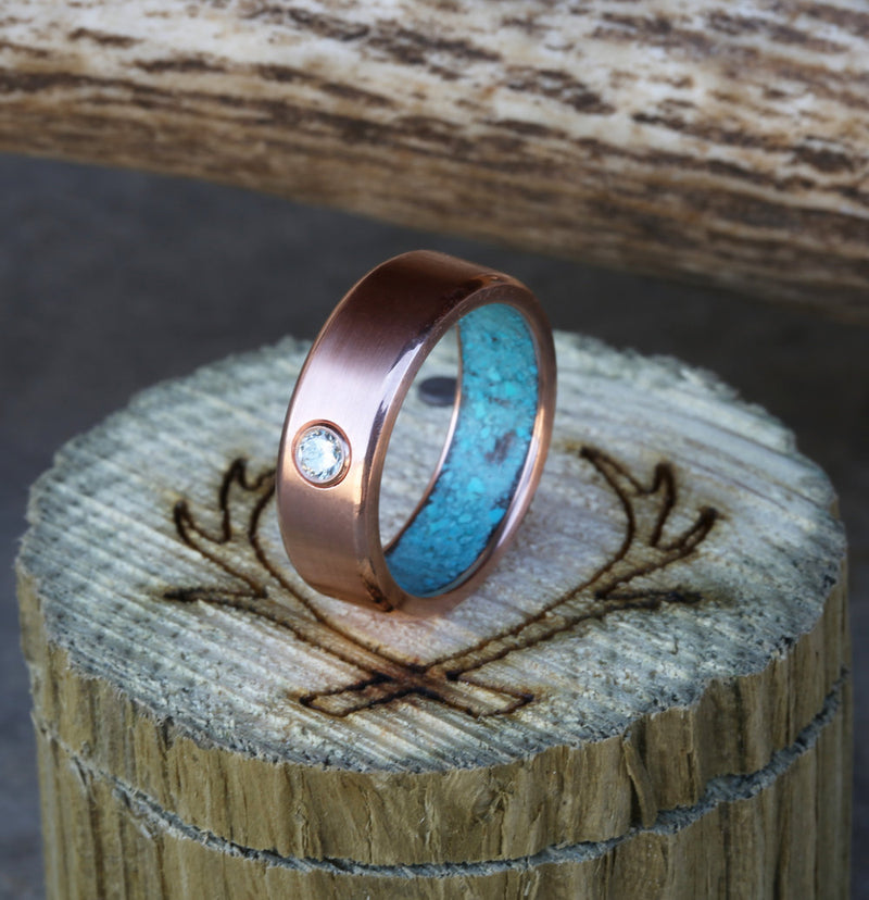 WOMAN'S DIAMOND WEDDING RING WITH TURQUOISE LINING (available in 14K rose, white, or yellow gold) - Staghead Designs - Antler Rings By Staghead Designs