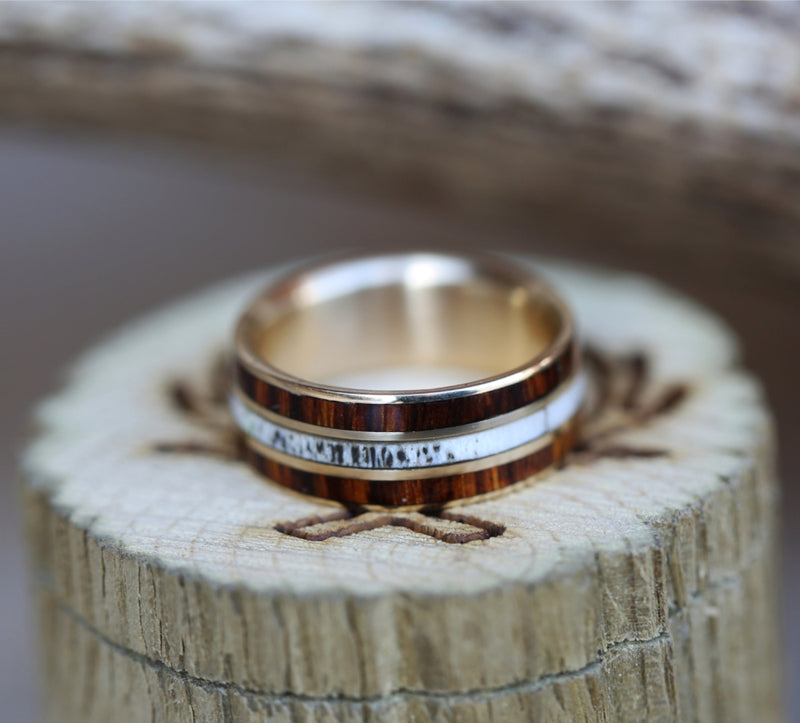 """RIO"" IN 14K GOLD WITH IRONWOOD AND ANTLER INLAYS (available in 14K white, rose or yellow gold) - Staghead Designs - Antler Rings By Staghead Designs"