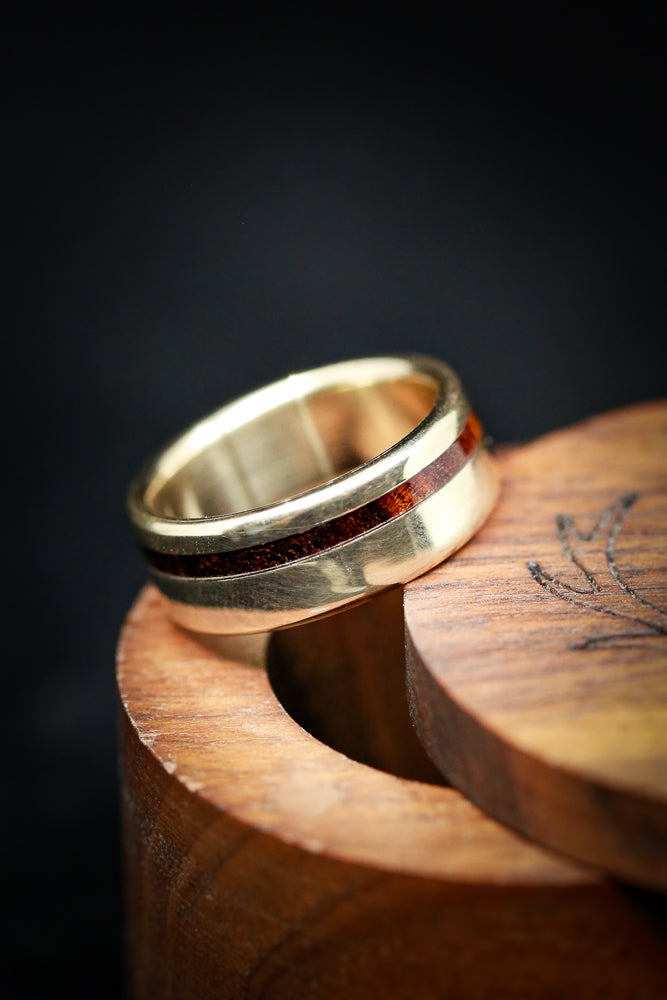 """VERTIGO"" IN 14K GOLD WITH WOOD INLAY (fully customizable)"