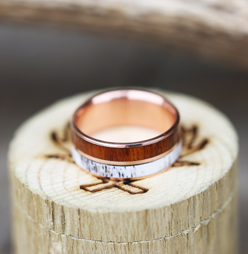 14K GOLD WEDDING BAND WITH WOOD & ANTLER (available in 14K rose, yellow, or white gold) -  Custom Rings Handcrafted By Staghead Designs