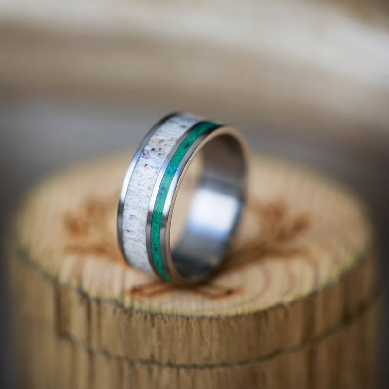 ANTLER AND MALACHITE WEDDING BAND (available in titanium, silver, black zirconium, damascus steel & 14K white, rose, or yellow gold) -  Custom Rings Handcrafted By Staghead Designs