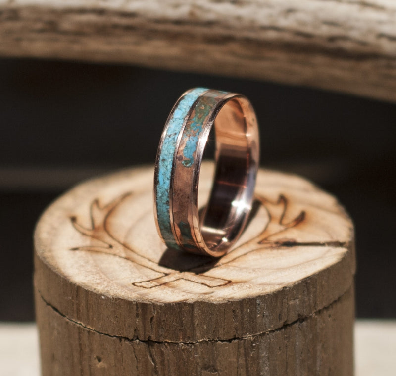 PATINA COPPER & TURQUOISE WEDDING BAND ON 14K GOLD (available in 14K white, rose, or yellow gold) - Staghead Designs - Antler Rings By Staghead Designs