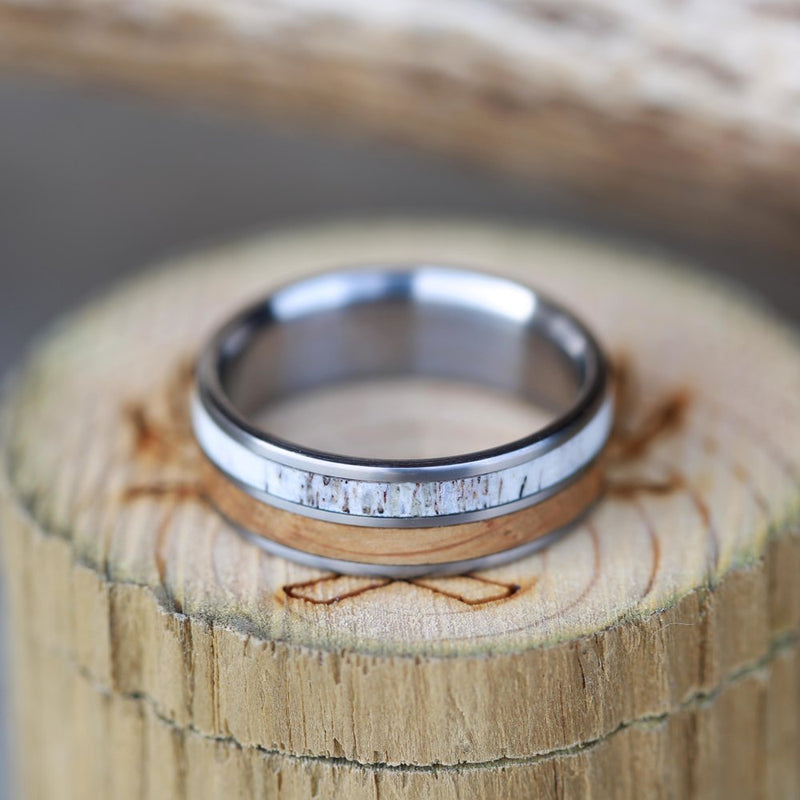 WHISKEY BARREL OAK AND ANTLER WEDDING BAND (available in titanium, silver, black zirconium, damascus steel & 14K white, rose, or yellow gold) - Staghead Designs - Antler Rings By Staghead Designs