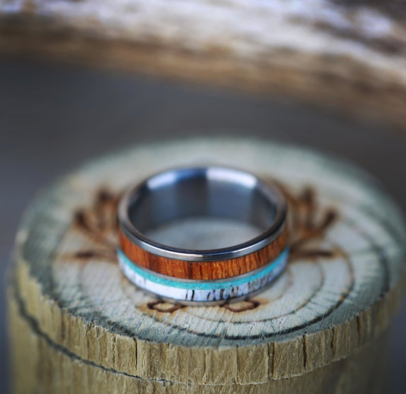 """BANNER"" IN TWO CHANNELS WITH WOOD, ANTLER, & TURQUOISE (available in titanium, silver, black zirconium, damascus steel & 14K white, rose, or yellow gold) - Staghead Designs - Antler Rings By Staghead Designs"
