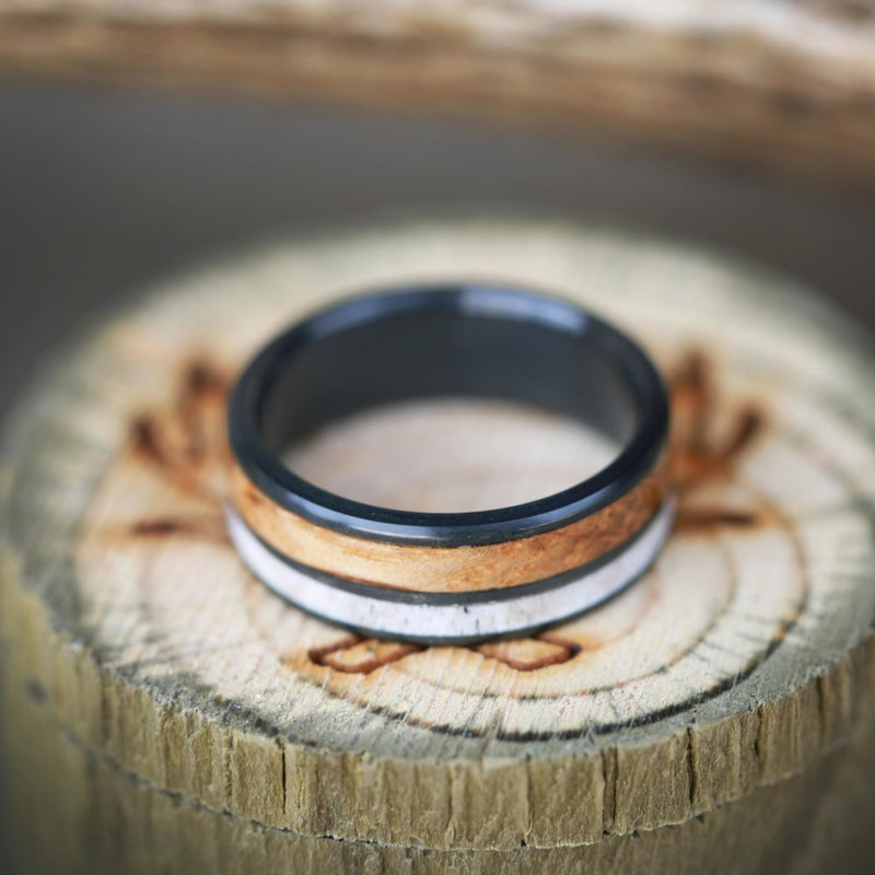 WHISKEY BARREL OAK & ELK ANTLER ON TITANIUM BAND (available in titanium, silver, black zirconium, damascus steel & 14K white, rose, or yellow gold) -  Custom Rings Handcrafted By Staghead Designs