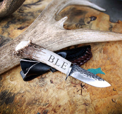 CUSTOMIZED STAGHEAD DESIGNS KNIFE - 3.5in HAMMERED BLADE WITH ANTLER HANDLE - Staghead Designs - Antler Rings By Staghead Designs