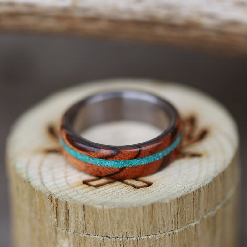 """REMMY"" IN TIGER WOOD & TURQUOISE (available in titanium, silver, black zirconium & 14K white, rose, or yellow gold) - Staghead Designs - Antler Rings By Staghead Designs"