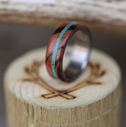 """REMMY"" IN TIGER WOOD & TURQUOISE (available in titanium, silver, black zirconium & 14K white, rose, or yellow gold) -  Custom Rings Handcrafted By Staghead Designs"