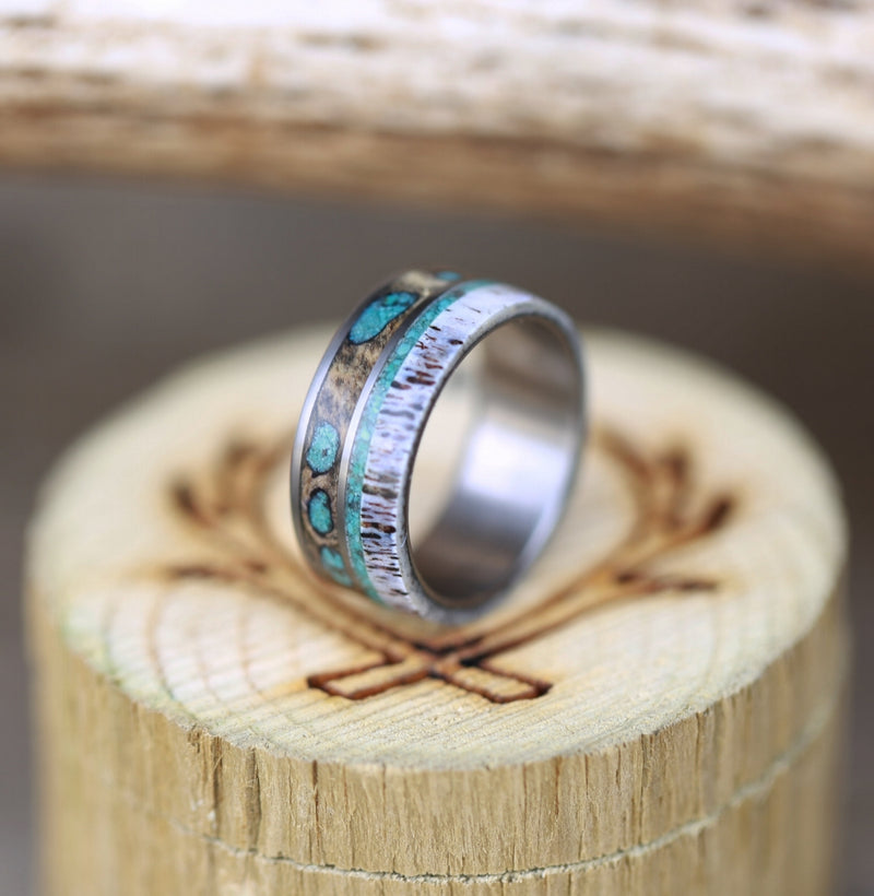 """ELEMENT"" IN BUCKEYE WOOD, ANTLER & TURQUOISE - MEN'S WEDDING RING (available in titanium, silver, black zirconium, damascus steel & 14K white, rose, or yellow gold) -  Custom Rings Handcrafted By Staghead Designs"