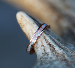 14K GOLD STACKING WEDDING BAND FEATURING FIRE & ICE OPAL (available with diamond, wood, antler, turquoise and other inlay options) - Staghead Designs - Antler Rings By Staghead Designs