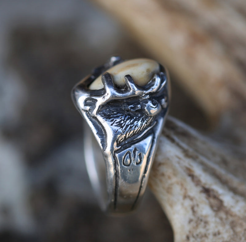 CUSTOM HAND-CARVED ELK TOOTH (ELK IVORY) RING - Staghead Designs - Antler Rings By Staghead Designs