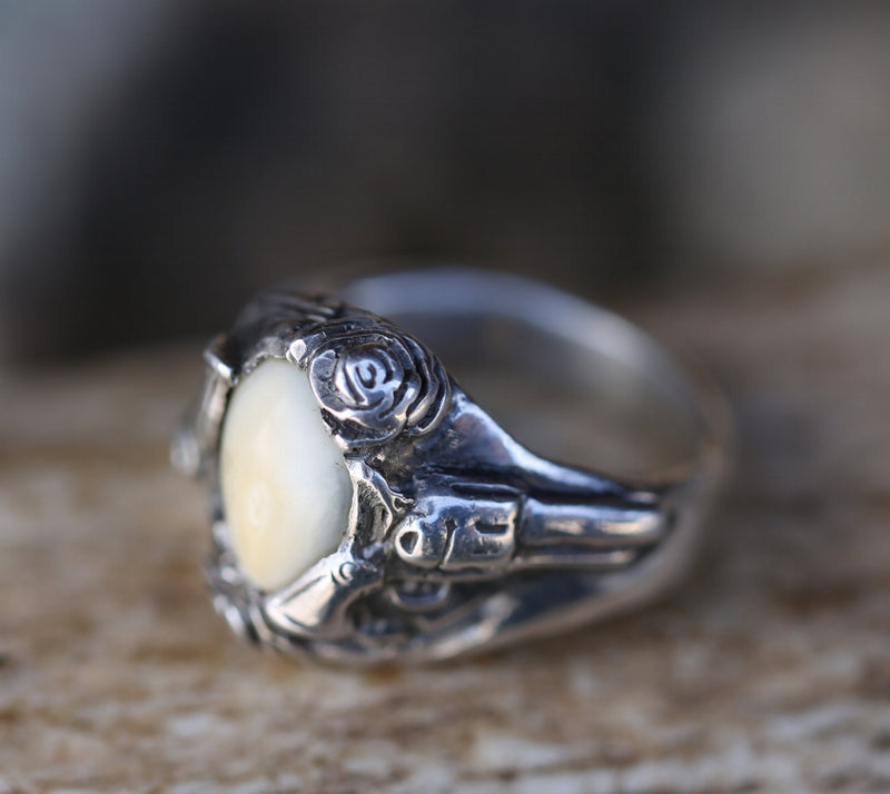 CUSTOM HAND-CARVED GUNS & ROSES RING DESIGN WITH ELK TOOTH -  Custom Rings Handcrafted By Staghead Designs