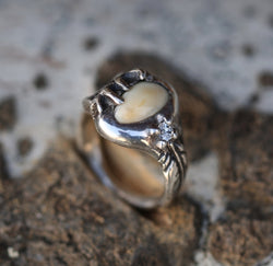 WOMEN'S CUSTOM HAND-CARVED RING WITH ELK TOOTH & DIAMOND ACCENT -  Custom Rings Handcrafted By Staghead Designs