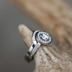 1ct MOISSANITE & DIAMOND HALO ENGAGEMENT RING WITH ELK ANTLER INLAYS & DIAMOND STACKING BAND (available in 14K rose, yellow, or white gold) - Staghead Designs - Antler Rings By Staghead Designs