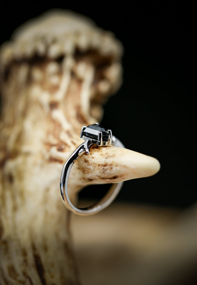 """ARTEMIS"" - SALT & PEPPER DIAMOND SET ON 14K GOLD ANTLER/TWIG STYLE WEDDING BAND (available in 14K rose, white & yellow gold) -  Custom Rings Handcrafted By Staghead Designs"