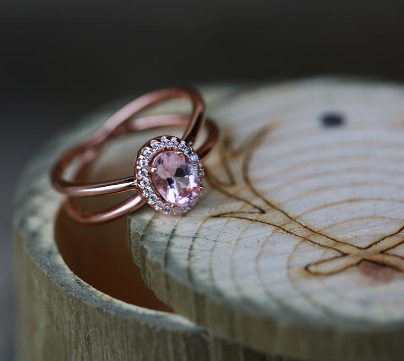 """FRENCHY"" ENGAGEMENT RING IN 14K GOLD WITH MORGANITE & A DIAMOND HALO (available in 14K rose, white and yellow gold) -  Custom Rings Handcrafted By Staghead Designs"