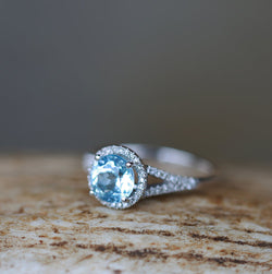 14K WHITE GOLD & 2ctw SKY BLUE TOPAZ WITH DIAMOND HALO ENGAGEMENT RING - Staghead Designs - Antler Rings By Staghead Designs