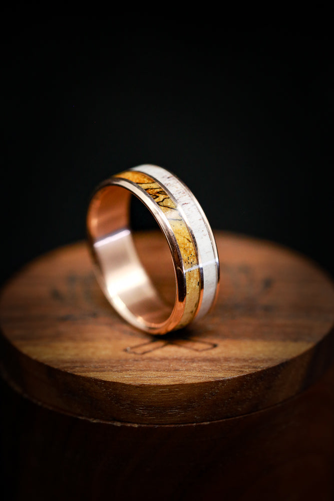 SPALTED MAPLE AND ANTLER WEDDING BAND ON BLACK ZIRCONIUM (fully customizable)