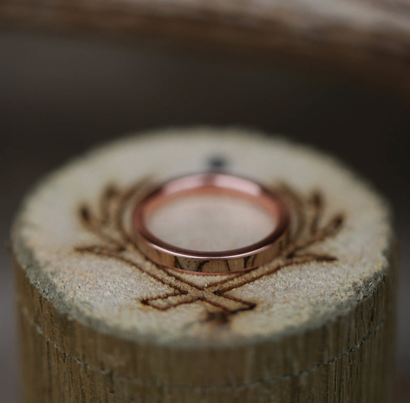 SPALTED MAPLE SET IN 14K GOLD WEDDING BAND (available in 14K white, rose or yellow gold) -  Custom Rings Handcrafted By Staghead Designs