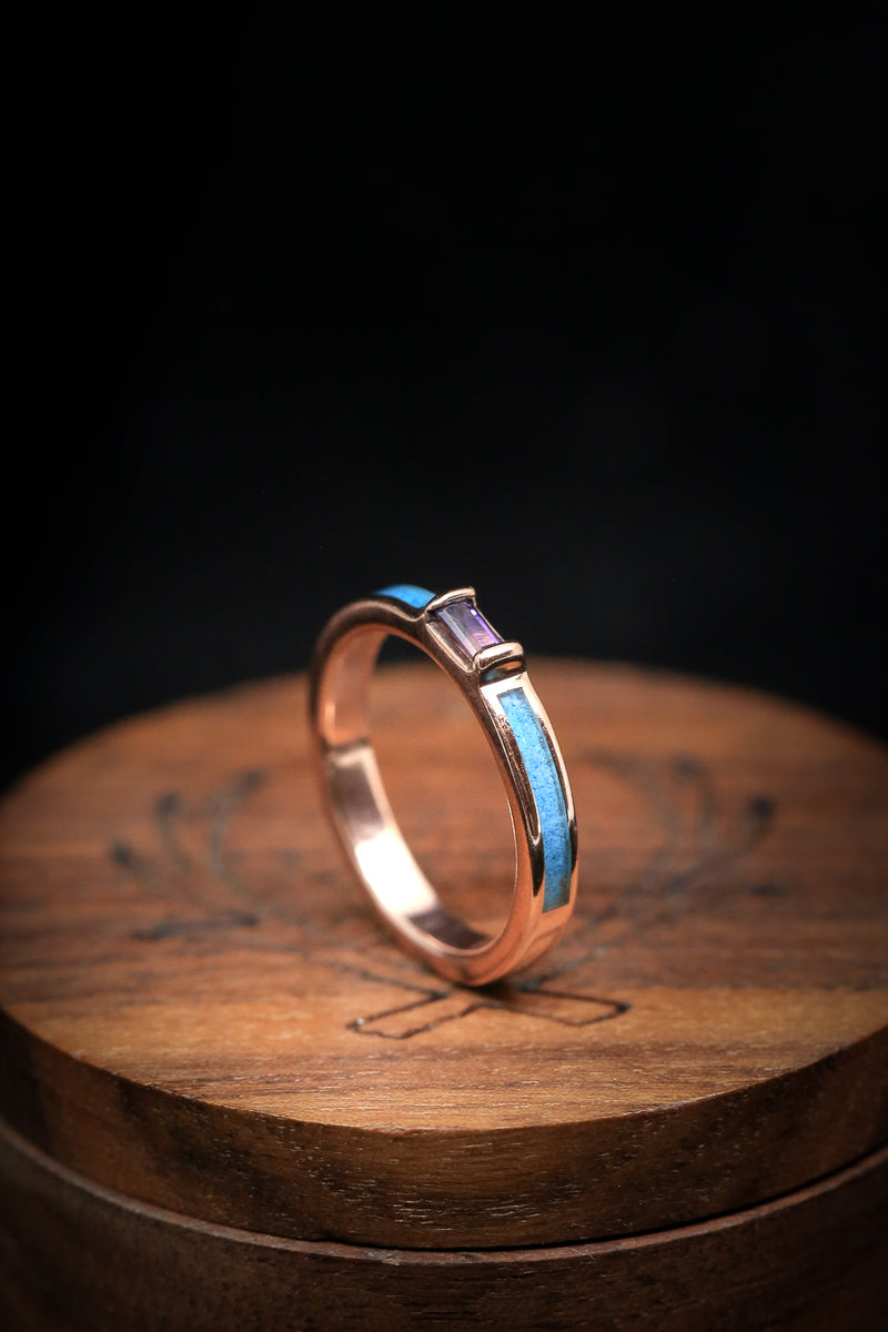 14K GOLD WEDDING BAND WITH AMETHYST SETTING BETWEEN TURQUOISE INLAYS (fully customizable)