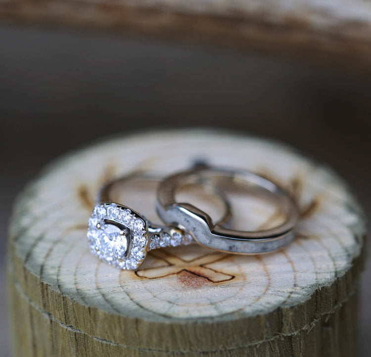 ANTLER STACKING BAND WITH 1ct MOISSANITE & DIAMOND HALO ENGAGEMENT RING (available in 14K white, yellow, or rose gold) -  Custom Rings Handcrafted By Staghead Designs
