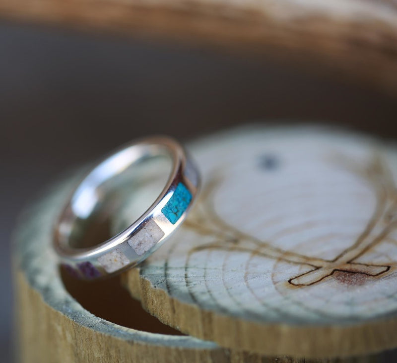 WOMEN'S SILVER WEDDING BAND WITH ANTLER, CHAROITE, AND TURQUOISE (available in silver and 14K rose, yellow, or white gold) - Staghead Designs - Antler Rings By Staghead Designs