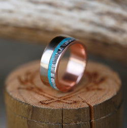 14K GOLD WEDDING BAND WITH 14K GOLD, ANTLER & TURQUOISE INLAYS (available in 14K white, rose, or yellow gold) -  Custom Rings Handcrafted By Staghead Designs