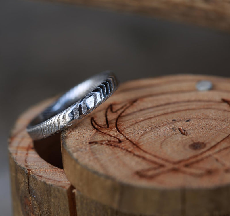 WOMEN'S DAMASCUS STEEL STACKING BAND (available in silver, black zirconium, damascus steel & 14K white, rose, or yellow gold) - Staghead Designs - Antler Rings By Staghead Designs