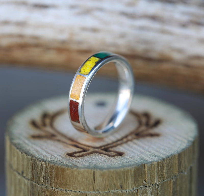 WOMEN'S SILVER WEDDING BAND WITH SUGULITE, TURQUOISE, MALACHITE, ORPIMENT & JASPER (available in silver and 14K rose, yellow, or white gold) - Staghead Designs - Antler Rings By Staghead Designs