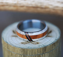 MEN'S WEDDING BAND WITH ANTLER & WOOD WITH AN ACRYLIC INLAY (available in titanium, black zirconium, silver & 14K white, rose, or yellow gold) -  Custom Rings Handcrafted By Staghead Designs