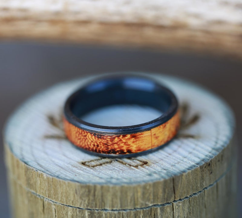 """RAINIER"" IN BLACK ZIRCONIUM WITH A BURNT HENGE INLAY (available in black zirconium, silver, damascus steel & 14K white, yellow, or rose gold) -  Custom Rings Handcrafted By Staghead Designs"