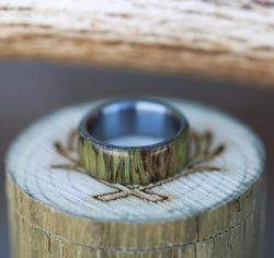 MEN'S WEDDING BAND FEATURING GREEN SPALTED MAPLE (available in titanium, black zirconium, silver, and 14K white, rose, or yellow gold) -  Custom Rings Handcrafted By Staghead Designs