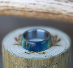 MEN'S TITANIUM WEDDING BAND FEATURING BLUE SPALTED MAPLE (available in titanium, black zirconium, silver, and 14K white, rose or yellow gold) - Staghead Designs - Antler Rings By Staghead Designs