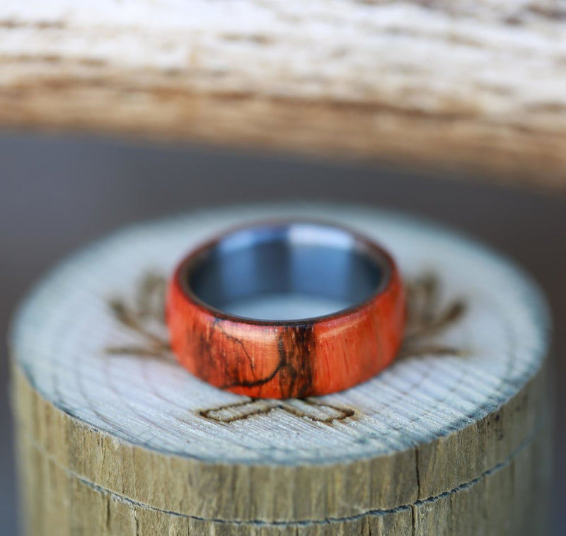MEN'S WEDDING BAND FEATURING ORANGE SPALTED MAPLE (available in titanium, silver, black zirconium & 14K white, rose or yellow gold) -  Custom Rings Handcrafted By Staghead Designs