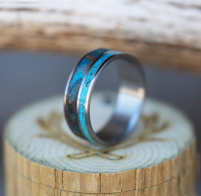 PATINA COPPER & TURQUOISE WEDDING BAND - SIZE 8