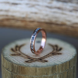 14K GOLD STACKING BAND WITH ANTLER INLAY (available in 14K yellow, white, or rose gold) -  Custom Rings Handcrafted By Staghead Designs